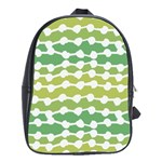 Polkadot Polka Circle Round Line Wave Chevron Waves Green White School Bags(Large)  Front