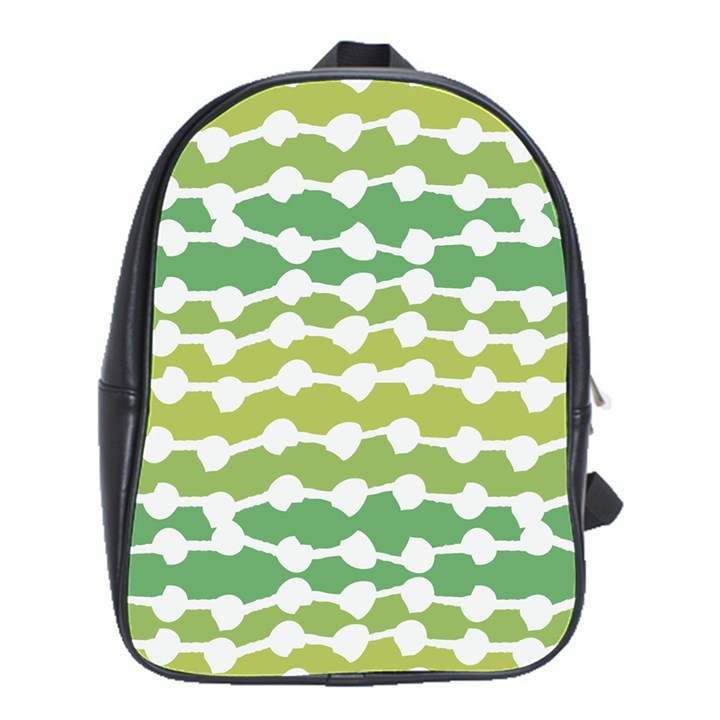 Polkadot Polka Circle Round Line Wave Chevron Waves Green White School Bags(Large)