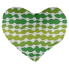 Polkadot Polka Circle Round Line Wave Chevron Waves Green White Large 19  Premium Heart Shape Cushions by Mariart