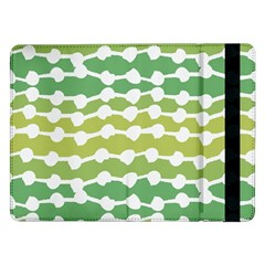Polkadot Polka Circle Round Line Wave Chevron Waves Green White Samsung Galaxy Tab Pro 12 2  Flip Case by Mariart