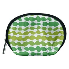 Polkadot Polka Circle Round Line Wave Chevron Waves Green White Accessory Pouches (medium)  by Mariart