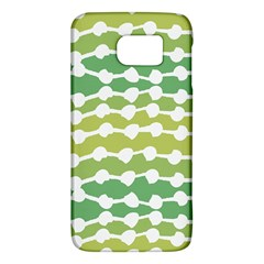 Polkadot Polka Circle Round Line Wave Chevron Waves Green White Galaxy S6 by Mariart