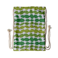 Polkadot Polka Circle Round Line Wave Chevron Waves Green White Drawstring Bag (small)