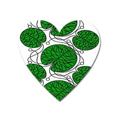 Leaf Green Heart Magnet by Mariart