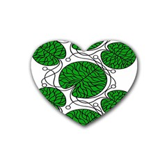 Leaf Green Heart Coaster (4 Pack)  by Mariart