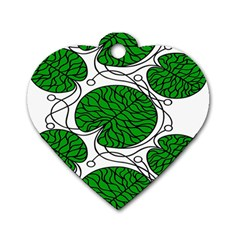 Leaf Green Dog Tag Heart (two Sides) by Mariart