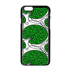 Leaf Green Apple Iphone 6/6s Black Enamel Case by Mariart