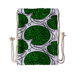 Leaf Green Drawstring Bag (small) by Mariart