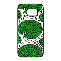 Leaf Green Samsung Galaxy S7 Edge Black Seamless Case by Mariart