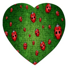 Ladybugs Red Leaf Green Polka Animals Insect Jigsaw Puzzle (heart) by Mariart