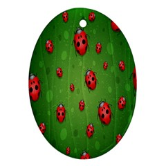 Ladybugs Red Leaf Green Polka Animals Insect Oval Ornament (two Sides) by Mariart