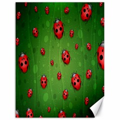 Ladybugs Red Leaf Green Polka Animals Insect Canvas 18  X 24   by Mariart