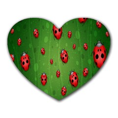 Ladybugs Red Leaf Green Polka Animals Insect Heart Mousepads by Mariart