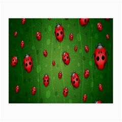 Ladybugs Red Leaf Green Polka Animals Insect Small Glasses Cloth (2 Side) by Mariart