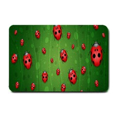 Ladybugs Red Leaf Green Polka Animals Insect Small Doormat  by Mariart