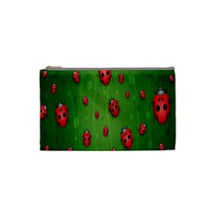Ladybugs Red Leaf Green Polka Animals Insect Cosmetic Bag (small)  by Mariart