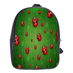 Ladybugs Red Leaf Green Polka Animals Insect School Bags(large)  by Mariart