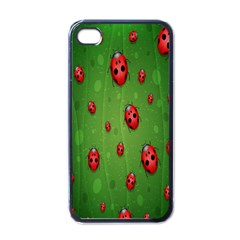 Ladybugs Red Leaf Green Polka Animals Insect Apple Iphone 4 Case (black) by Mariart