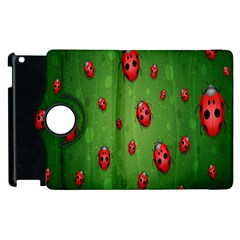 Ladybugs Red Leaf Green Polka Animals Insect Apple Ipad 2 Flip 360 Case by Mariart