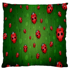Ladybugs Red Leaf Green Polka Animals Insect Standard Flano Cushion Case (one Side) by Mariart