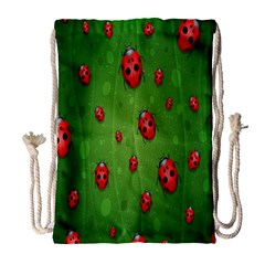 Ladybugs Red Leaf Green Polka Animals Insect Drawstring Bag (large) by Mariart
