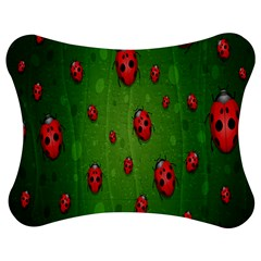 Ladybugs Red Leaf Green Polka Animals Insect Jigsaw Puzzle Photo Stand (bow)