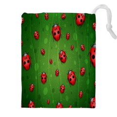 Ladybugs Red Leaf Green Polka Animals Insect Drawstring Pouches (xxl) by Mariart