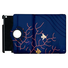 Sea Ocean Beach Swim Fish Wave Waves Chevron Blue Water Apple Ipad 3/4 Flip 360 Case by Mariart