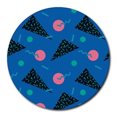 Seamless Triangle Circle Blue Waves Pink Round Mousepads by Mariart