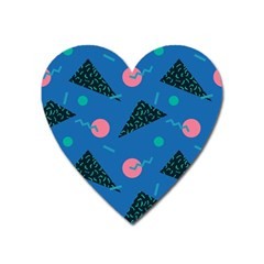 Seamless Triangle Circle Blue Waves Pink Heart Magnet by Mariart