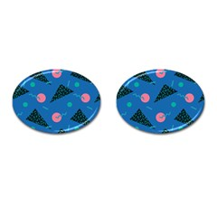 Seamless Triangle Circle Blue Waves Pink Cufflinks (oval) by Mariart
