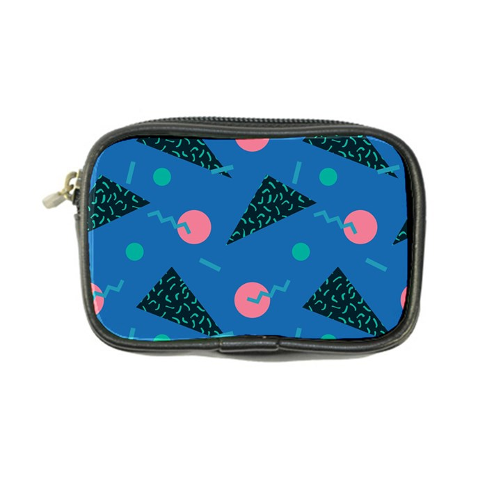 Seamless Triangle Circle Blue Waves Pink Coin Purse