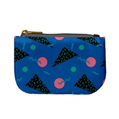 Seamless Triangle Circle Blue Waves Pink Mini Coin Purses
