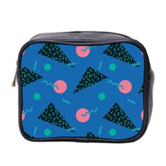 Seamless Triangle Circle Blue Waves Pink Mini Toiletries Bag 2 Side by Mariart
