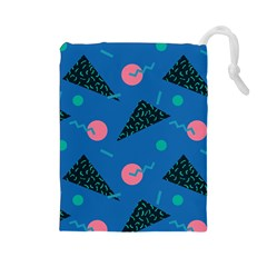 Seamless Triangle Circle Blue Waves Pink Drawstring Pouches (large)  by Mariart