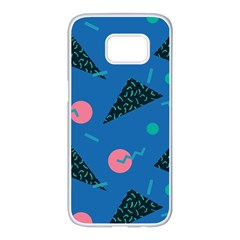 Seamless Triangle Circle Blue Waves Pink Samsung Galaxy S7 Edge White Seamless Case by Mariart