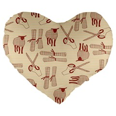 Sheep Goats Paper Scissors Large 19  Premium Flano Heart Shape Cushions by Mariart