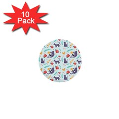 Redbubble Animals Cat Bird Flower Floral Leaf Fish 1  Mini Buttons (10 Pack)  by Mariart