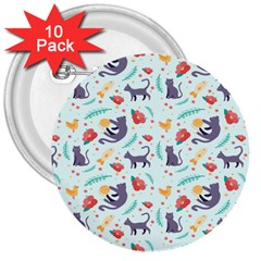 Redbubble Animals Cat Bird Flower Floral Leaf Fish 3  Buttons (10 Pack)  by Mariart
