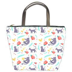 Redbubble Animals Cat Bird Flower Floral Leaf Fish Bucket Bags by Mariart