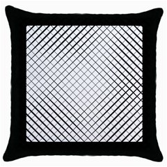 Simple Pattern Waves Plaid Black White Throw Pillow Case (black) by Mariart