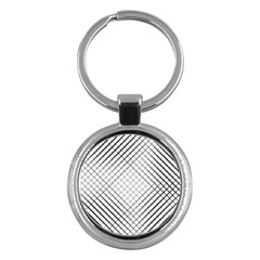 Simple Pattern Waves Plaid Black White Key Chains (round)  by Mariart