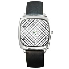 Simple Pattern Waves Plaid Black White Square Metal Watch by Mariart