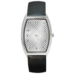Simple Pattern Waves Plaid Black White Barrel Style Metal Watch by Mariart