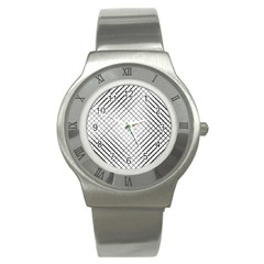 Simple Pattern Waves Plaid Black White Stainless Steel Watch by Mariart
