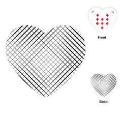 Simple Pattern Waves Plaid Black White Playing Cards (heart)  by Mariart