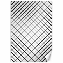 Simple Pattern Waves Plaid Black White Canvas 12  X 18   by Mariart