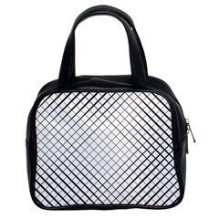 Simple Pattern Waves Plaid Black White Classic Handbags (2 Sides) by Mariart