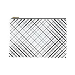 Simple Pattern Waves Plaid Black White Cosmetic Bag (large)  by Mariart