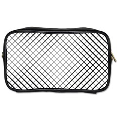 Simple Pattern Waves Plaid Black White Toiletries Bags by Mariart